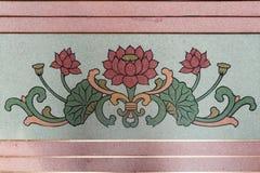 艺术在寺庙墙壁上的中国式绘画,中国莲花pai 免版税库存图片