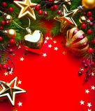 艺术在红色背景的圣诞节框架 库存图片