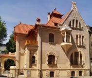 艺术城市罗兹,波兰的Nouveau建筑学 免版税库存图片