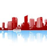 艺术城市质朴的全景反映向量 向量例证