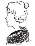 艺术夫人概述绘画纹身花刺墙壁 库存照片