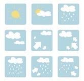 艺术夹子图标查出的天气 免版税库存图片