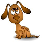 艺术夹子狗注视哀伤的小狗 免版税库存图片