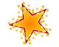 艺术夹子金子红色星形 皇族释放例证