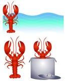 艺术夹子龙虾徽标红色