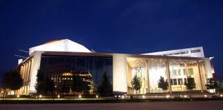 艺术宫殿在晚上在布达佩斯 库存图片