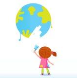 艺术家儿童地球少许绘画行星 免版税图库摄影