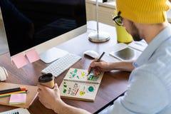 艺术家创造性的设计师以图例解释者图表技巧概念 免版税图库摄影