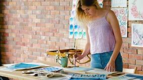 艺术家启发油漆演播室艺术品显示 影视素材