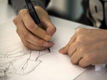 艺术家图画manga 免版税库存图片
