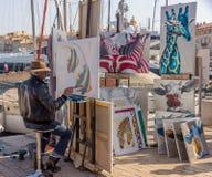 艺术家在圣特罗佩,法国 免版税库存照片