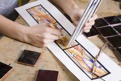 艺术家在工作 免版税库存图片