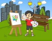 艺术家在帆布的男孩绘画在公园动画片 库存图片
