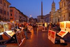 艺术家在纳沃纳广场,罗马,意大利 库存图片