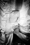 艺术家工作,脏的黑白照片 免版税库存图片