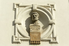 艺术家希腊哲学家亚里斯多德的画象 库存照片