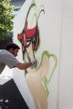 艺术家执行在HOMI,家国际展示的KayOne在米兰,意大利 库存照片