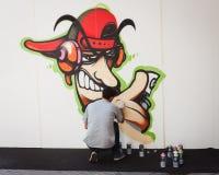 艺术家执行在HOMI,家国际展示的KayOne在米兰,意大利 免版税图库摄影