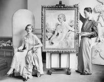 艺术家摆在妇女绘画画象(所有人被描述不更长生存,并且庄园不存在 供应商保单Th 免版税库存图片