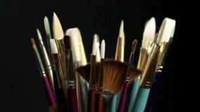 艺术家油漆刷 股票录像