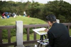 艺术家油漆自然风景 免版税库存图片