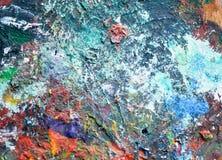 艺术家用不同的颜色的` s调色板 木头 各种各样的colors.spiral笔记本 纹理 库存照片