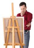 艺术家画架画家 免版税库存照片