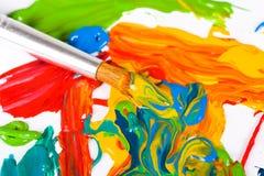 艺术家画笔油漆 库存图片