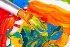 艺术家画笔油漆 免版税库存图片