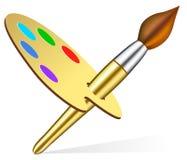 艺术家画笔调色板s向量 免版税库存照片