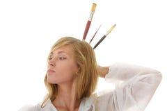 艺术家白肤金发的女性统一白色 库存图片