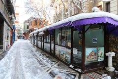 艺术家街道在冬天 库存图片