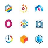 艺术家设计社区商标创造性的产业视觉象集合 免版税库存图片