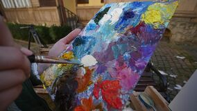 艺术家递紧压在调色板的油漆 股票视频