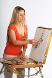 艺术家金发碧眼的女人 免版税库存照片