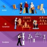 艺术家陶瓷技师雕刻家横幅 向量例证