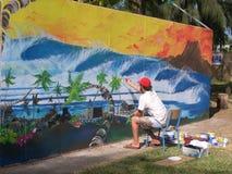 艺术家在绘画的工作 图库摄影