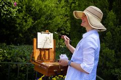 艺术家绘画风景 免版税库存图片