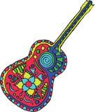 艺术性地手拉, zentangle传统化了吉他传染媒介- colo 免版税库存图片