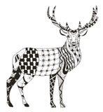 艺术性地手拉, zentangle传统化了鹿传染媒介, illustr 图库摄影