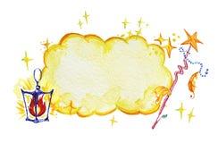 艺术性的与神仙的黄色云彩、星、巫术师在白色backgr隔绝的鞭子和灯笼的水彩手拉的不可思议的例证 免版税库存照片