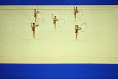 艺术性的体操箍陈列 库存照片
