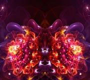 艺术性的抽象分数维3d计算机生成的花分数维背景 向量例证