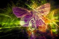 艺术性的抽象能量领域塑造了作为在轮子的一只蝴蝶 皇族释放例证