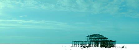 艺术性的播种的西部码头在布赖顿 库存照片
