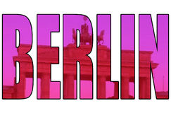 艺术性的柏林门图片通过被隔绝的文本 免版税图库摄影