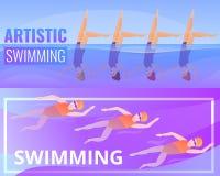 艺术性的游泳的横幅设置了,动画片样式 库存例证