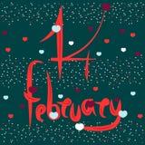 艺术性的署名2月14日,天圣华伦泰 使用浪漫元素-心脏 卡片的传染媒介例证, 库存例证