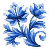 艺术性的花卉元素,抽象民间艺术,蓝色开花例证 免版税库存图片