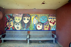 艺术性的街道画海滩风雨棚 图库摄影